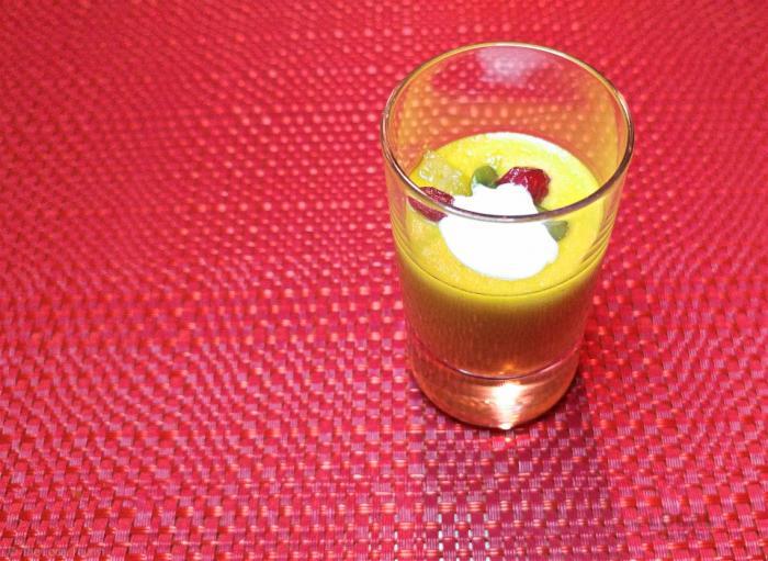 Sopa de Calabaza –squash soup, pomegranate, pepitas, candied ginger, sour cream