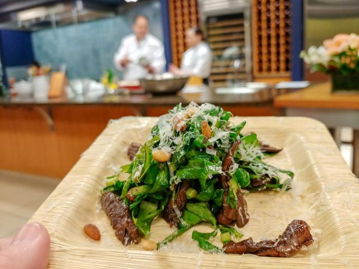 Chef Josh Capon Baby Kale Salad with Wild Mushrooms, Shallots, Pine Nuts