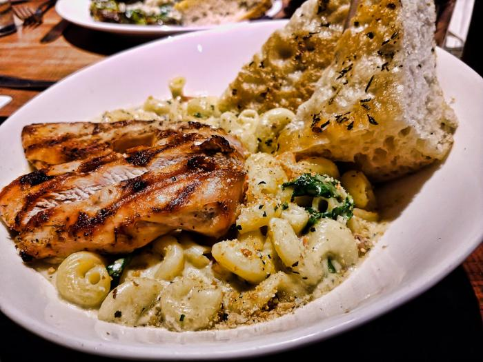 Four Cheese Pasta with grilled chicken at the Draft Room