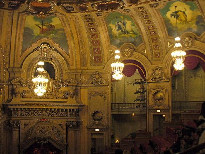 The Chicago Theatre Mural and Chandeliers