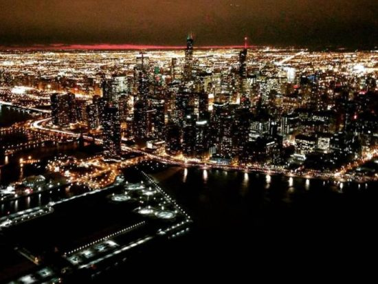 Chicago Skyline at night from a helicopter