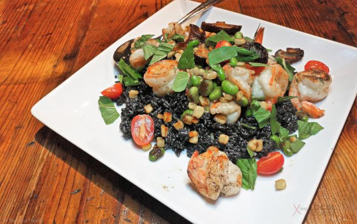 Squid Ink Fried Rice with jumbo gulf shrimp