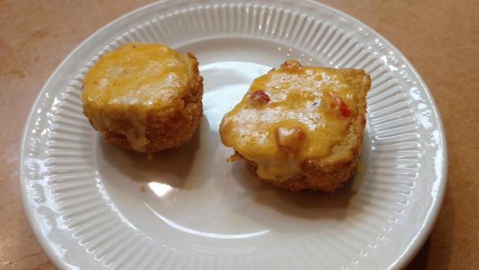 Heaven On Seven Fried Jalapeno Cheddar Corn Bread with pimento cheese