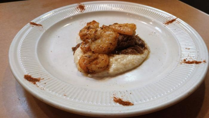 Heaven On Seven Grilled Shrimp & Parmesan-Reggiano Cheese Grits with New Orleans Roast Beef Debris