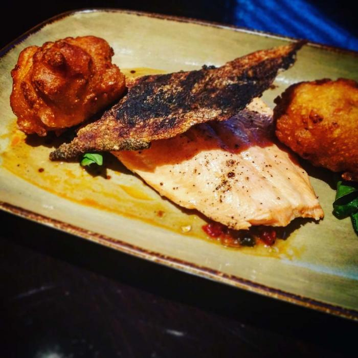 The Ashburn - Roasted Trout with Corn Fritters