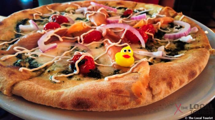 Ducktrap River Smoked Salmon & Pesto Pizza at Lark Chicago