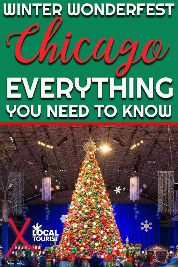 Winter WonderFest at Navy Pier celebrates the holidays in Chicago. Festival Hall is transformed into a wonderland with nearly 500 trees decorated with 25,000 ornaments, festive rides, twinkling lights, and visits with Santa Claus.