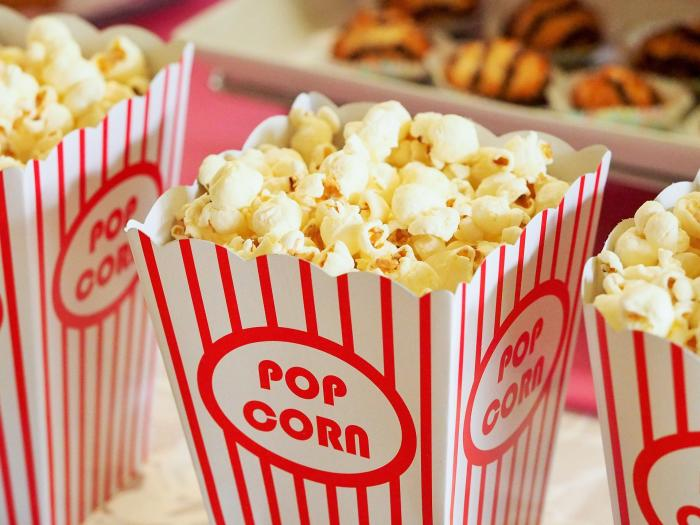 Popcorn is one of the snacks you can get at the drive in movie theater
