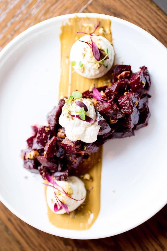 Salted-roasted beets with whipped goat cheese and pistachio butter at The Purple Pig