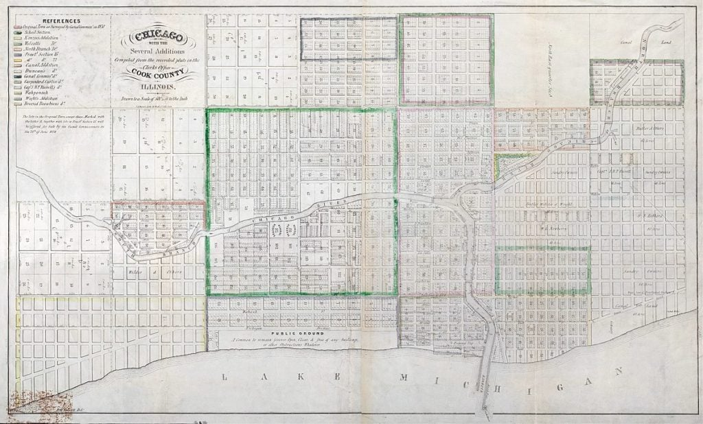 Map of Chicago Created by the Illinois and Michigan Canal commissioners and recorded on July 2, 1836; By E.B. Talcott, resident engineer, Illinois and Michigan Canal; T.A. Mesier's Lith, 28 Wall St, New York