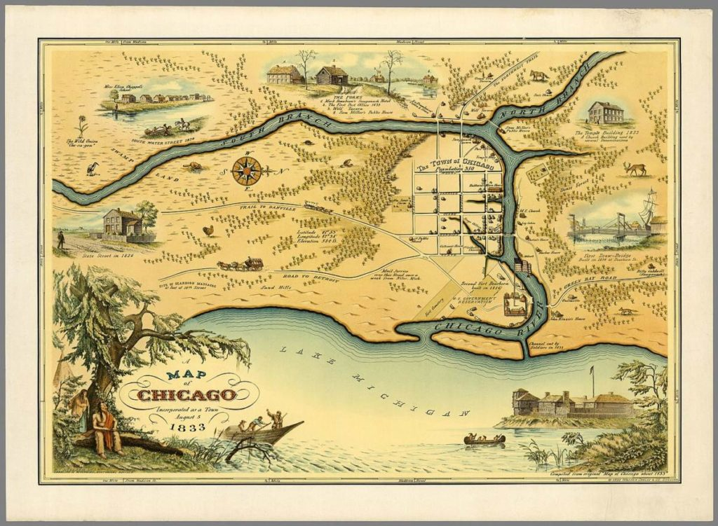 1933 pictorial map of Chicago issued by Walter Conley and O. E. Stelzer to commemorate the centennial of the founding of Chicago in 1833. Oriented with north to the right, it depicts Chicago at the time of its incorporation in 1833, when it was a small settlement. The Chicago River is identified, as it empties into Lake Michigan. The Town of Chicago is noted to have a population of 350. Throughout, the map notes trails, roads, swamps and forests beautifully rendered. Historical sites and buildings are depicted pictorially. These include John Kinzier's House, 1st Public School, Mackee House, U.S. Government Reservation, etc. Various vignettes adorn the map, including images of animals, the First Draw-Bridge, The Temple Building, Miss Eliza Chappel's School, The Forks, State Street in 1836, South Water Street in 1834. The title is surrounded by an illustration of a Native American couple resting under the tree in the lower left quadrant as a boat with what might be the boat of a fur trapper passes nearby. The lower right quadrant includes a sketch of Fort Dearborn. A smaller version of this map appeared in the August 13, 1933 edition of the Chicago Sunday Tribune with the following caption: This map, reproduced from a lithograph of the original, designed by Walter H. Conley and drawn by O. E. Stelzer, both of Chicago, is here reprinted by their permission. Mr. Conley, after a two year search of libraries and archives, aided in the compilation of historical details by Miss Caroline McIlvaine, who thirty years ago received from the last surviving pioneers their data as to the city of the thirties, laid out this accurate plan of the Chicago of 1833. It will be seen that streets in what is now the loop bore then the same names they have now. The sketches which illuminate the map are as authentic as a careful search of historical data can make them. This map was compiled from original 'Map of Chicago about 1833'. Most likely issued during the Chicago World's Fair or A Century of Progress International Exposition held in 1933