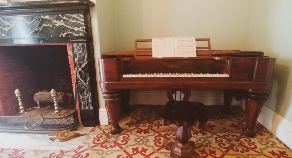 Chickering piano in the new parlor on the south side of the Clarke House