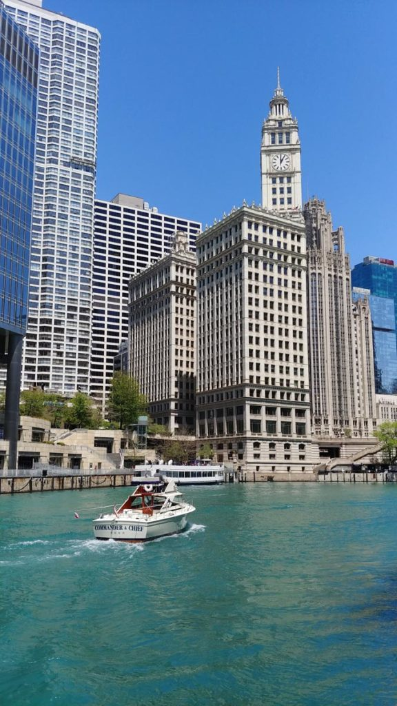 View of Wrigley Building from the Chicago Riverwalk, one of many things to do in Chicago