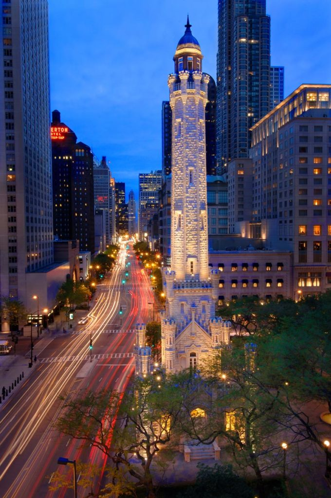 Water Tower looking south on the Magnificent Mile in Chicago