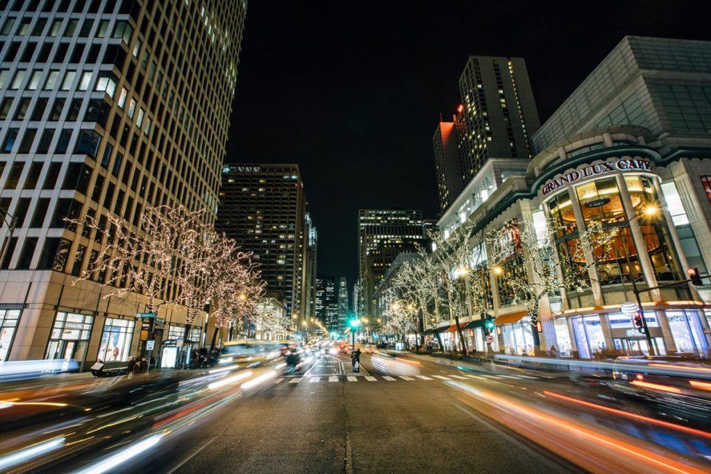 Magnificent Mile lit up for the holidays in Chicago