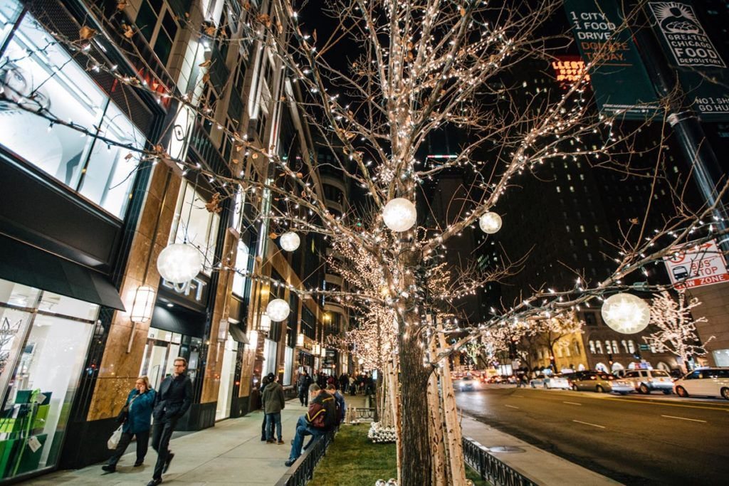Trees strewn with white lights along Michigan Avenue Chicago