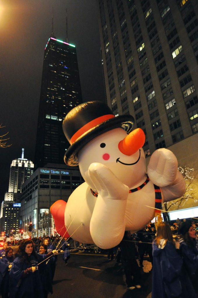 Snowman float in the Magnificent Mile Lights Parade