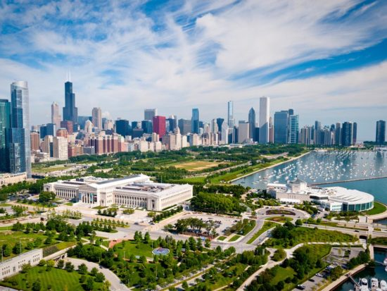 Museum Campus and downtown Chicago