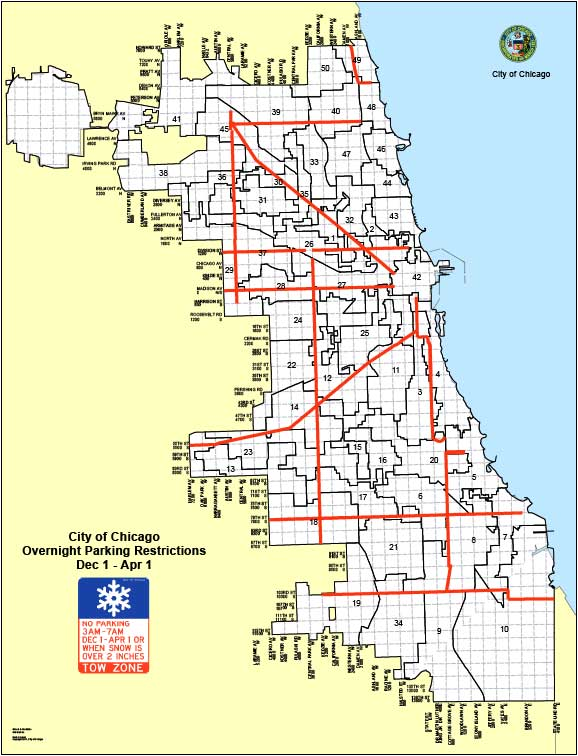 Map of Chicago Overnight Winter Parking Bans