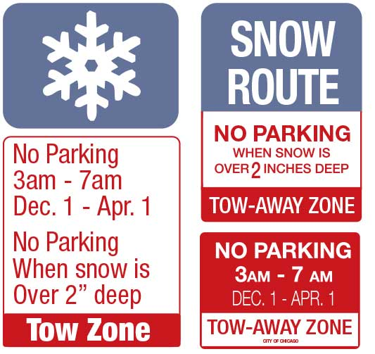 Chicago winter parking ban signs