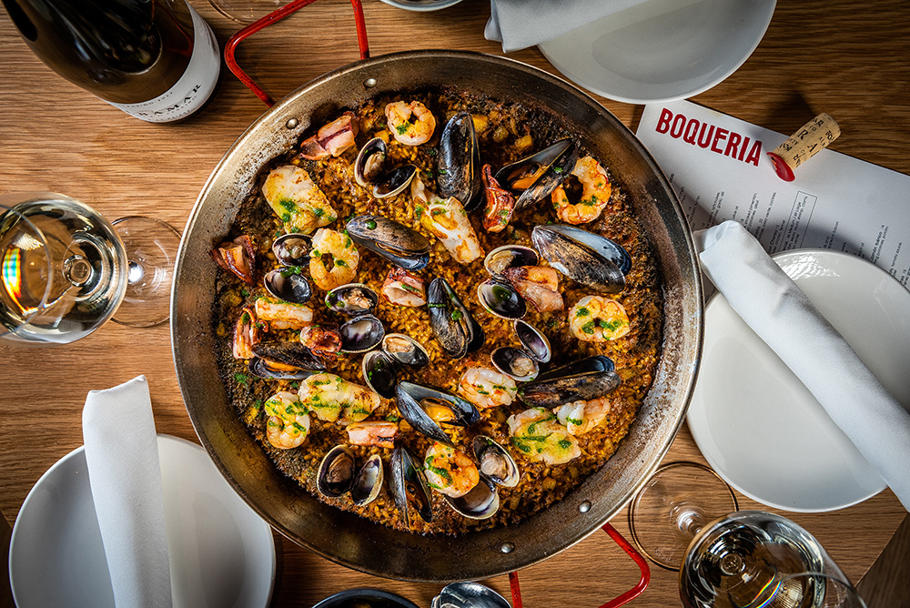 Paella de Marisco from the Boqueria menu. Photo courtesy of Boqueria.
