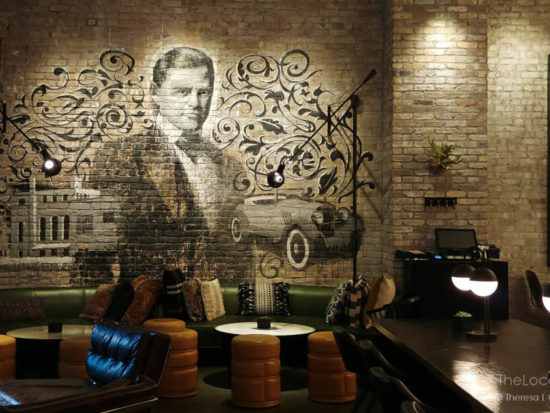 Mural of Benjamin Marshall in About Last Knife, the restaurant inside Hotel Julian Chicago