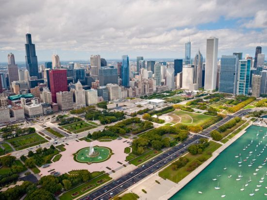 Aerial view of Grant Park, photo courtesy Choose Chicago