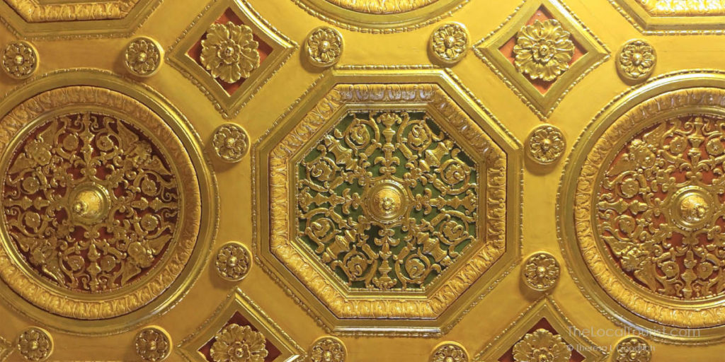 Ornate ceiling of the London Guarantee & Accident Building. This had been covered in 1957.