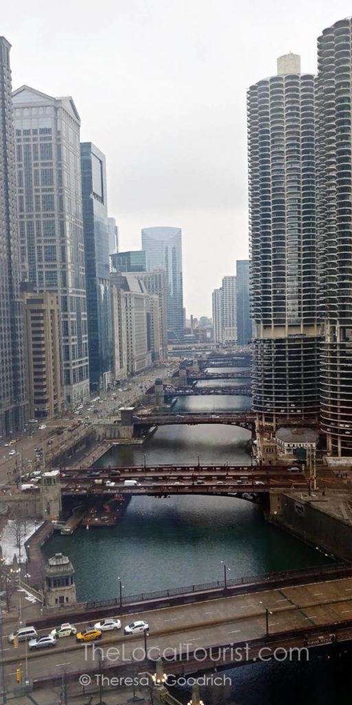 View of bridges across the Chicago River from the lobby of LondonHouse