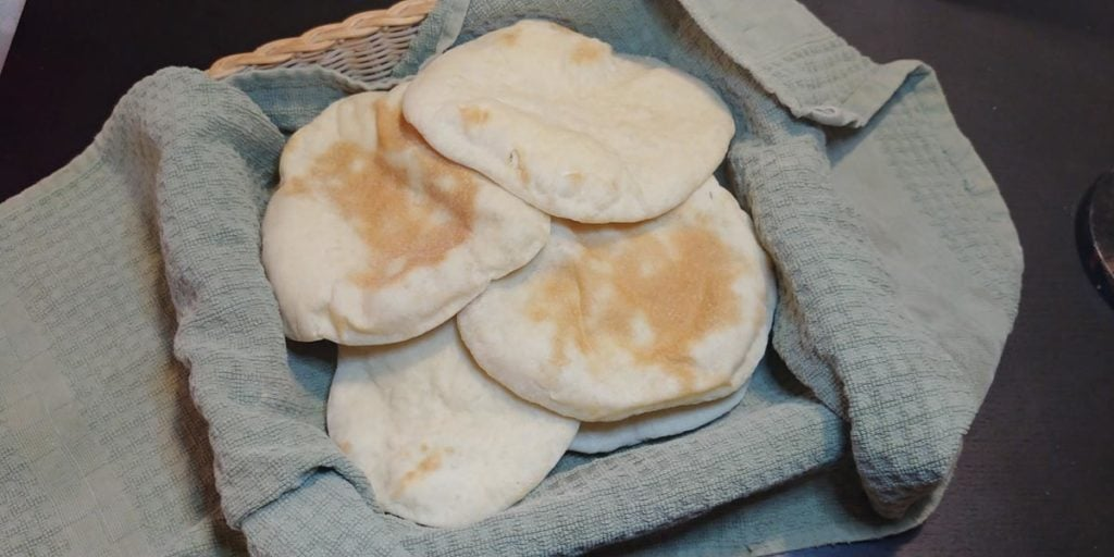 Basket of homemade pita bread