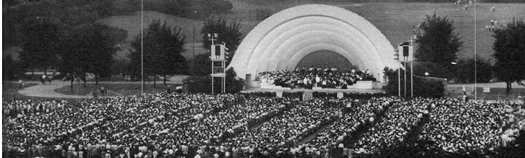 Old Grant Park Bandshell in 1954, source: Chicago Public Library