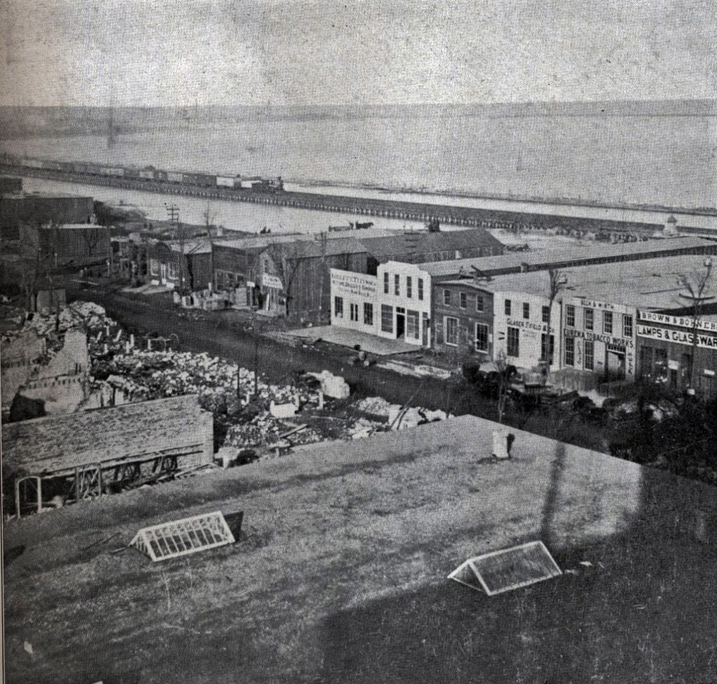 Temporary buildings in Lake Park after the Great Chicago Fire of 1871