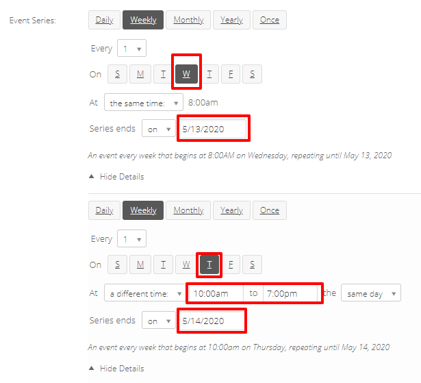Event Date and Time - there are complex options for scheduling