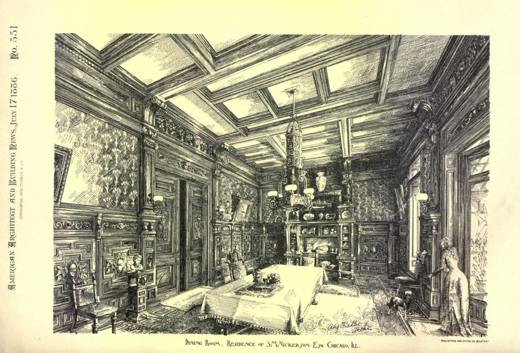 Woodcut of the dining room of Samuel Nickerson, 30 E. Erie St. Chicago, IL. Interior woodwork and decoration by Addison and Fiedler, architects