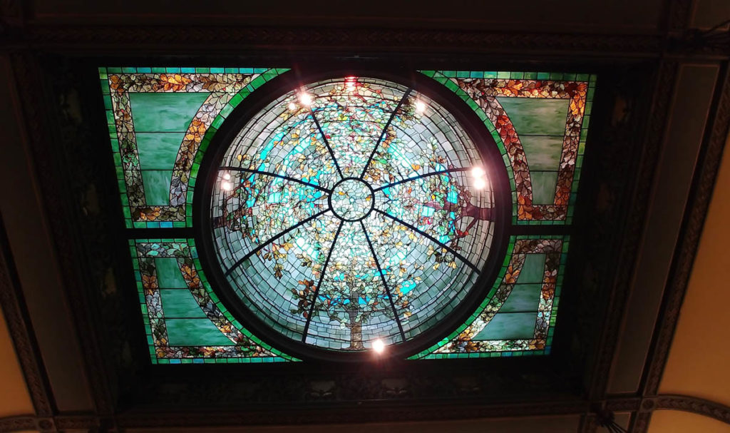 Multi-colored stained glass dome in the former library of the Nickerson Mansion