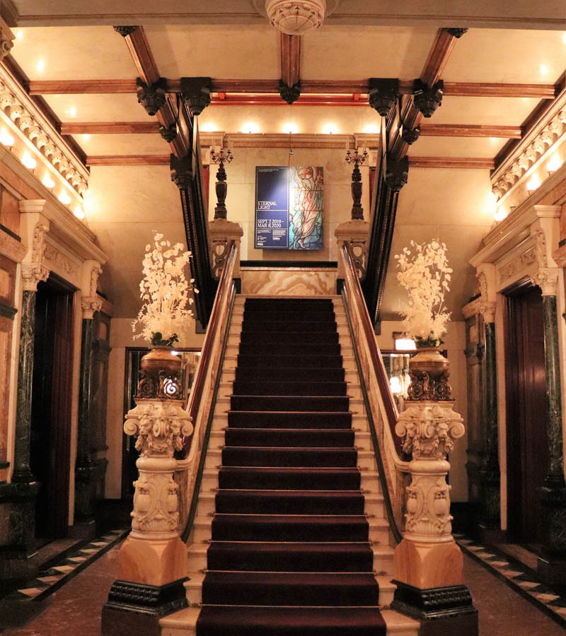 Grand staircase entrance of the Nickerson Mansion in Chicago Gold Coast, now the Driehaus Museum