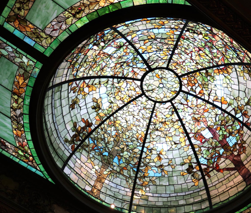 Detail of the stained glass dome