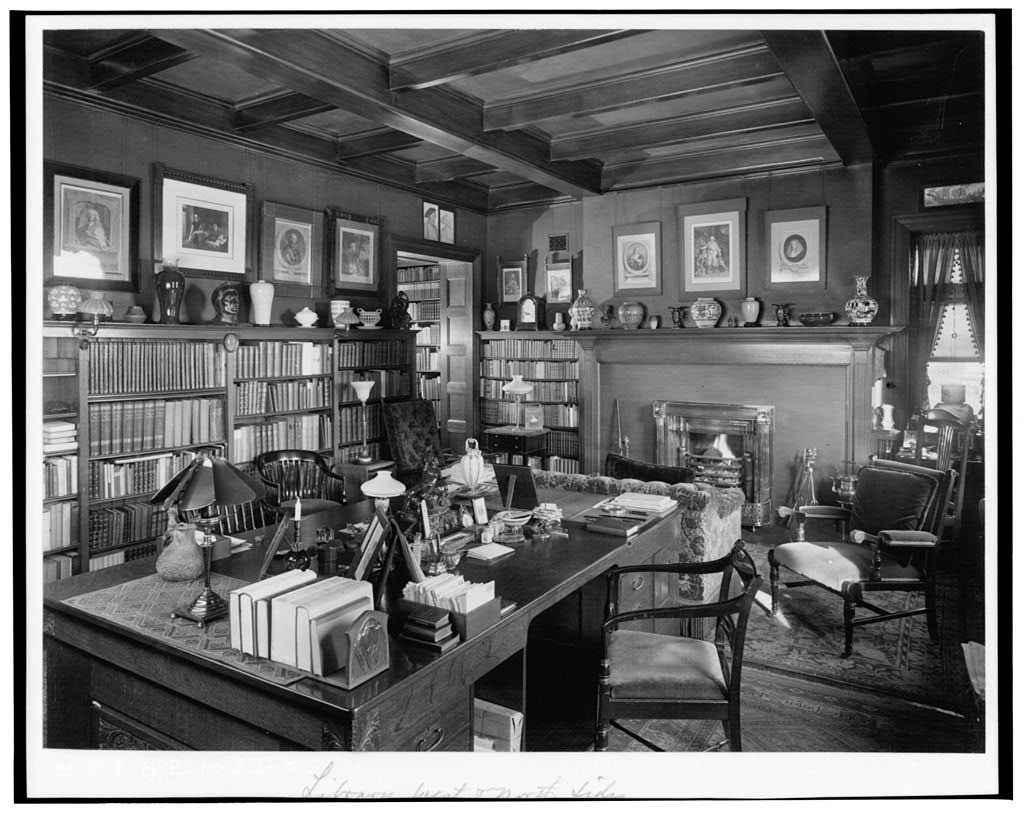 Glessner House Library with the massive Parker desk, circa 1923