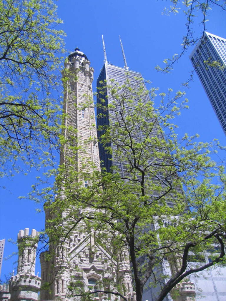 Chicago Historic Water Tower with Hancock Building in the background