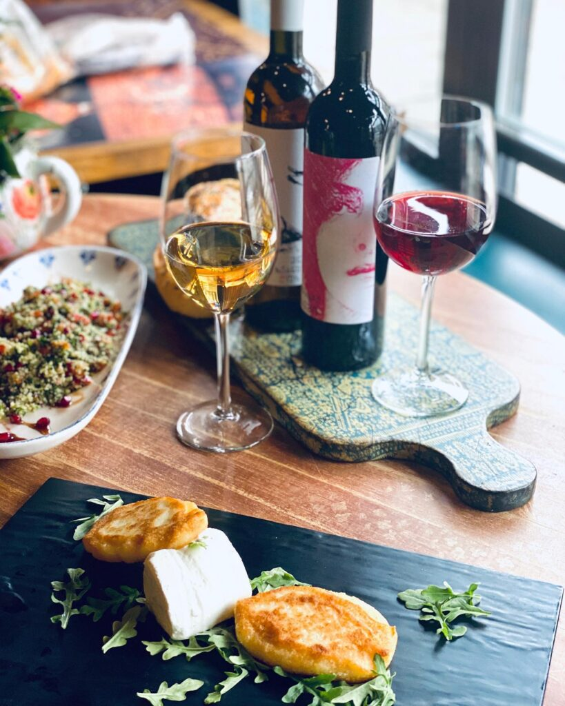 Wine and cheese at Oda Mediterranean Cuisine