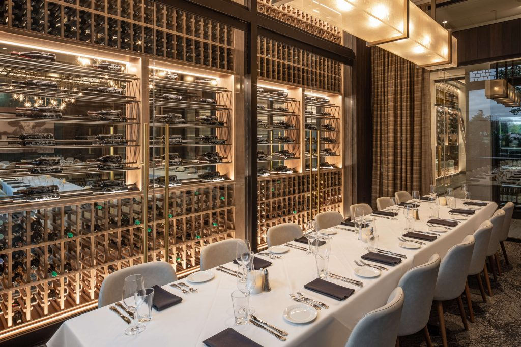Illinois Tower Room and wine wall at Perry's Steakhouse and Grille in Schaumburg, IL