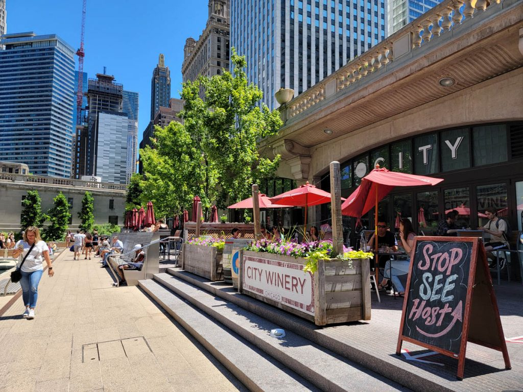 City Winery offers locally-made wine and live music on the Chicago Riverwalk with a view of Marina Towers