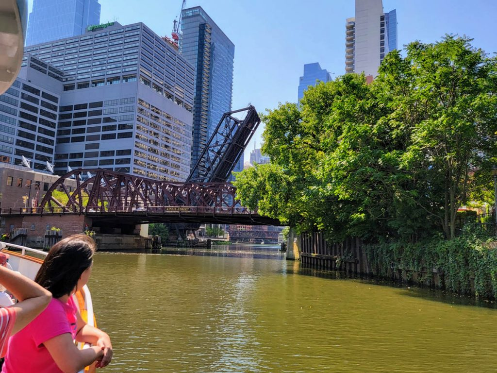 A bascule bridge permanently raised on the Chicago River