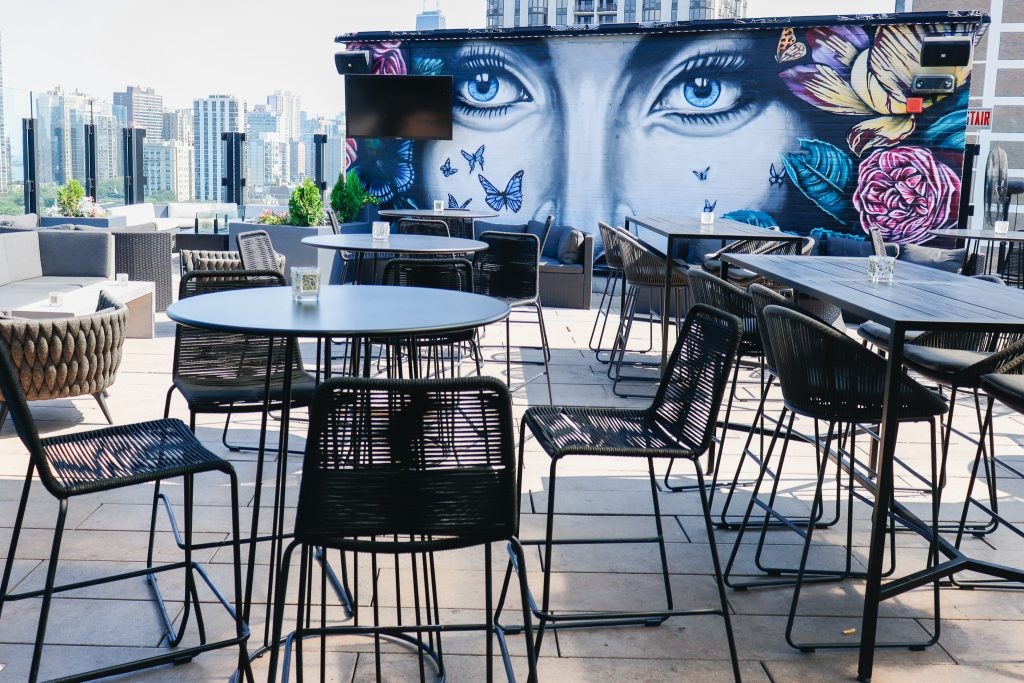 The outdoor patio at the J. Parker